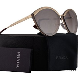 Prada Sunglasses Sand Pale Gold Light Brown w/Gradient Brown Mirror Silver 64mm Lens