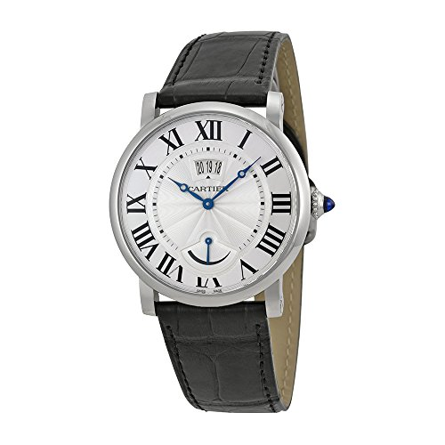 Cartier Rotonde Silver Dial SS Black Leather Automatic Men's Watch