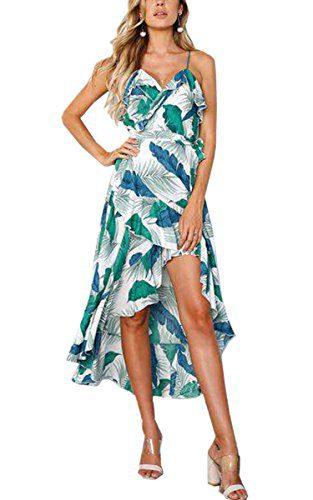 974d9764150 Angashion Women s Dresses-Floral Bohemian Spaghetti Strap Wrap V Neck  Irregular High Low Maxi Dress