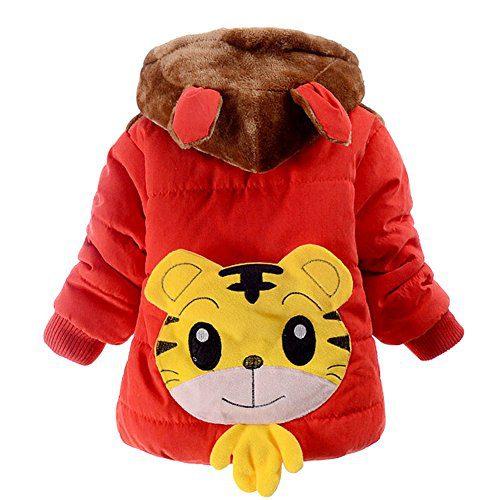 Jojobaby Baby Boys Kids Cartoon Hooded Snowsuit Winter Warm Fleece Hooded Down Windproof Jacket Outerwear Coat (0-6 Months, Red)