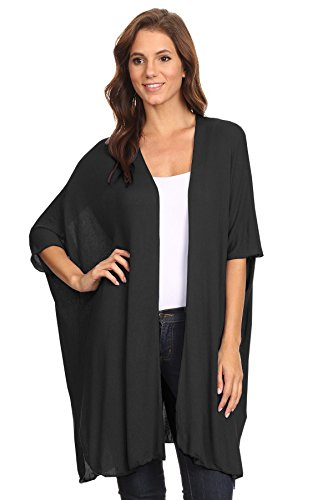 12 Ami Basic Short Sleeve Long Cardigan Black1 L
