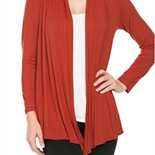Women's Casual Basic Solid Open Front Lightweight Long Sleeve Cardigan Sweater USA (Small, Rust)