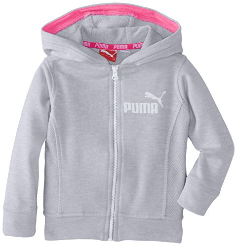 PUMA Baby Girls' Slub Zip Girls' Hoodie, Light Heather Grey, 18 Months
