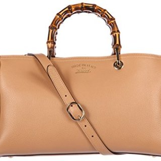 Gucci women's leather handbag shopping bag purse bamboo beige