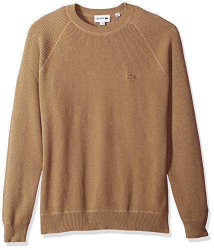 Lacoste Men's Long Sleeve Fancy Stitch Garment Dyed Sweater, Kraft Beige, Large