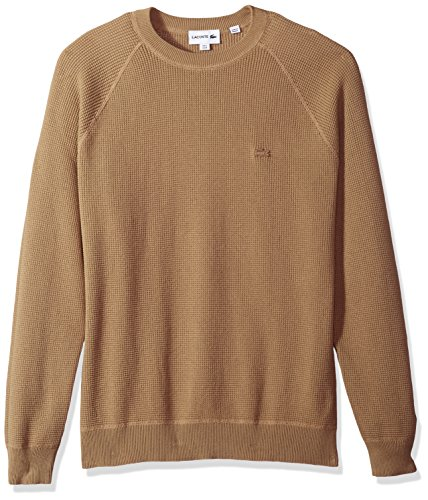 Lacoste Men's Long Sleeve Fancy Stitch Garment Dyed Sweater, Kraft Beige, Large