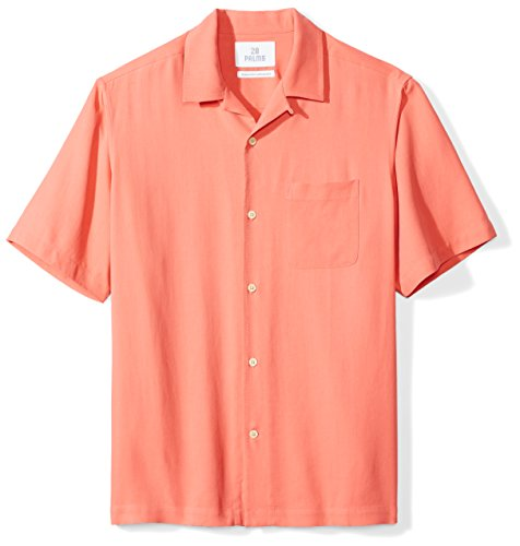 28 Palms Men's Relaxed-Fit 100% Silk Camp Shirt, Coral, X-Large