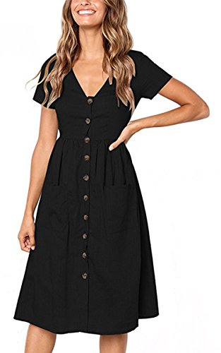 Angashion Women's Dresses-Short Sleeve V Neck Button T Shirt Midi Skater Dress with Pockets Black L