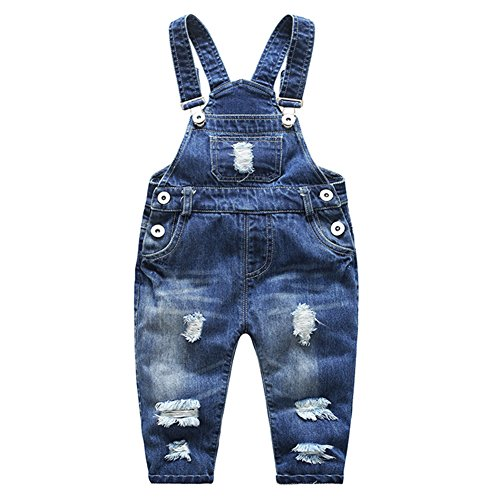 Kidscool Baby & Little Boys/girls Stone Washed Ripped Soft Denim Overalls, Blue, 2 - 3 Years (8)