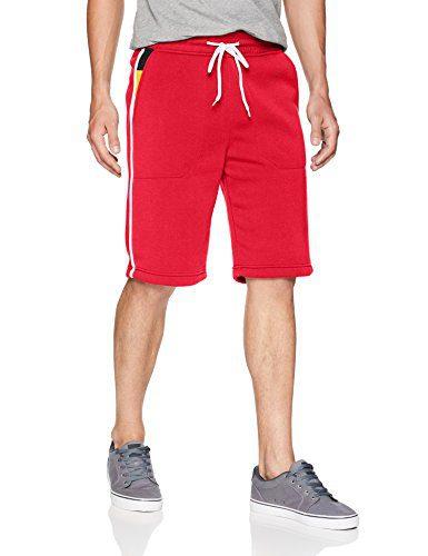 Southpole Men's Fleece Jogger Shorts, Red Pockets, X-Large