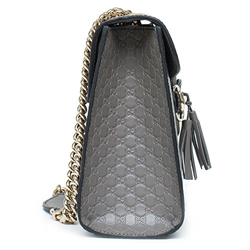 53d64aaf197 Home Shop Women Accessories Handbags   Wallets Gucci Emily GG Micro  Shoulder Lousse Grey Gray Leather New Handbag