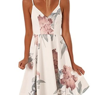 Asvivid Juniors V-Neck Straps Backless Bohemian Floral Beach Party Midi Dress Sundresses Medium White