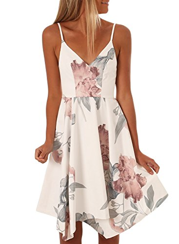 Asvivid Juniors V-Neck Straps Backless Bohemian Floral Beach Party Midi Dress Sundresses Medium White