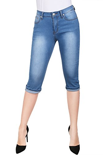 2LUV Women's Stretchy 5 Pocket Skinny Capri Jeans Denim Blue 11