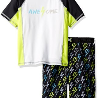 Baby Buns Toddler Boys' Two Piece Awesome Rashguard Swimsuit Set, Multi, 4T