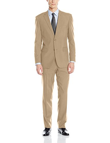 Alain Dupetit Men's Two Button Suit, Tan, 42 Regular/36 Waist