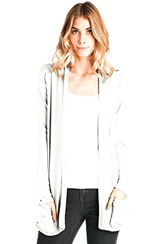 12 Ami Basic Long Sleeve Open Front Pocket Cardigan White XL