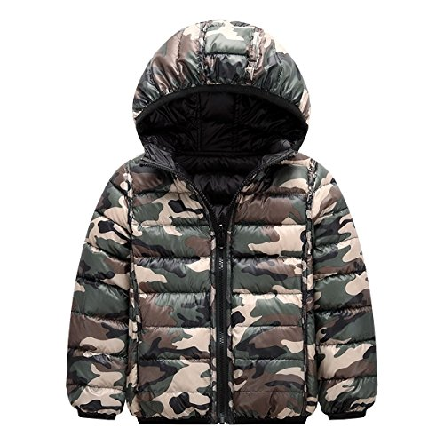 Baby Girls Boys Winter Lightweight Down Coat Hoodies Kids Camouflage Puffer Warm Coat Outwear Hoodie Bubble Jacket (120:2-3 Years, Black)