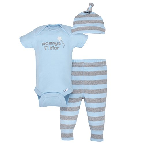 Gerber Baby Boys 3 Piece Organic Take-Me-Home Set, Gray/Light Blue, Newborn