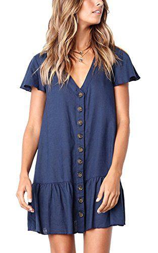 Angashion Women's Dresses-Short Sleeve V Neck Button T Shirt Midi Skater Dress with Pockets 0953 Navy Blue L