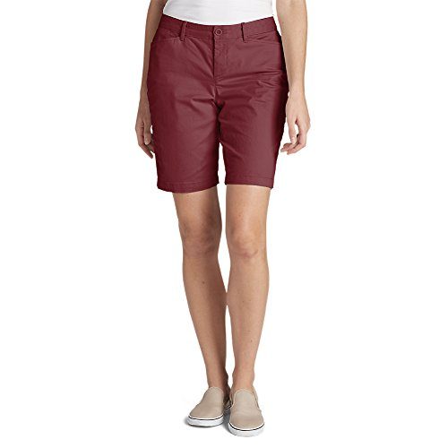 "Eddie Bauer Women's Legend Wash Stretch Shorts - Curvy Fit, 10"", Maroon Regular"