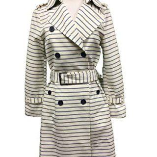Coach Women's Casual Button Down Striped Long Trench Coat Jacket XSmall