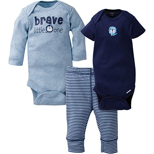Gerber Baby Boy 3 Piece Long and Short Sleeve Onesies with Pant, Brave, 3-6 Months