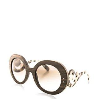 Prada Womens Sunglasses (PR 27R) Black/Grey Wood - Non-Polarized - 55mm