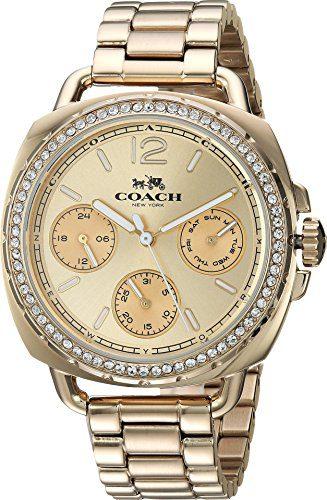 Coach Womens Tatum Gold Tone Stainless Crystal Glitz Watch