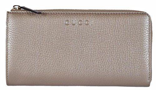 Gucci Women's Pebbled Leather Quarter Zip Wallet Metallic Golden Beige