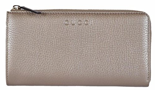 Gucci Women's Pebbled Leather Quarter Zip Wallet Metallic Golden Beige