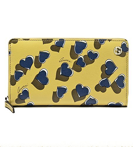 Gucci Heartbeat Print Yellow Leather Zip Around Wallet
