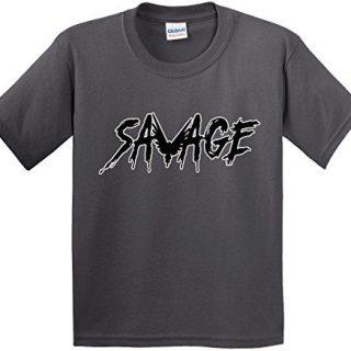 New Way 825A - Youth T-Shirt Savage Maverick Logang Logan Paul Medium Charcoal