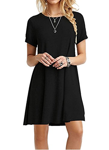47de0747e958 AUSELILY Women's Summer Short Sleeve Casual Flowy T-Shirt Dress (L, Black)