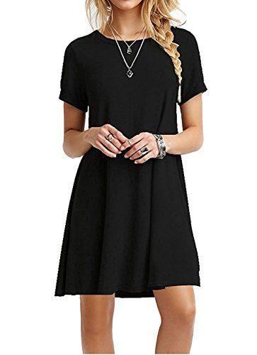 b27eee9d501f2 AUSELILY Women s Summer Short Sleeve Casual Flowy T-Shirt Dress (L ...