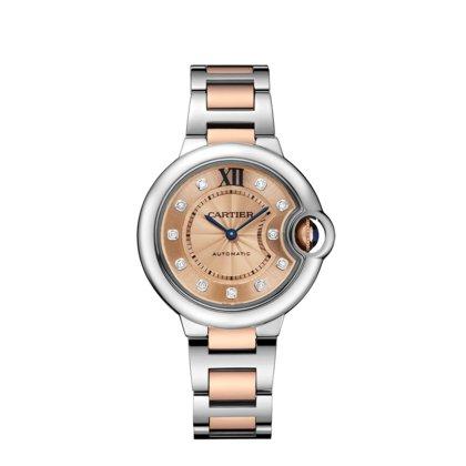 Cartier Ballon Bleu Stainless Steel and 18kt Rose Gold Ladies Watch