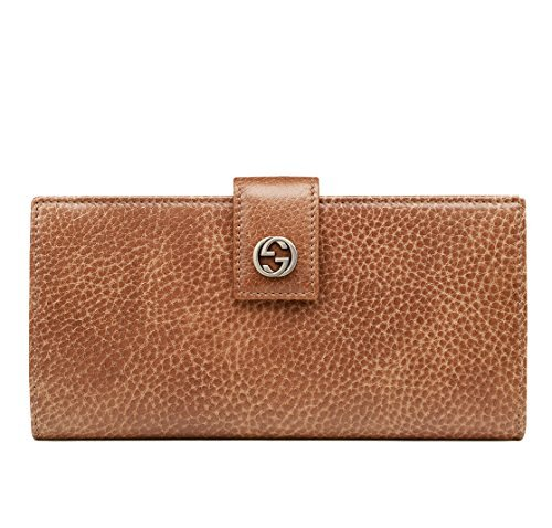 Gucci Wallet Miss GG Brown Leather Interlocking Logo Detail