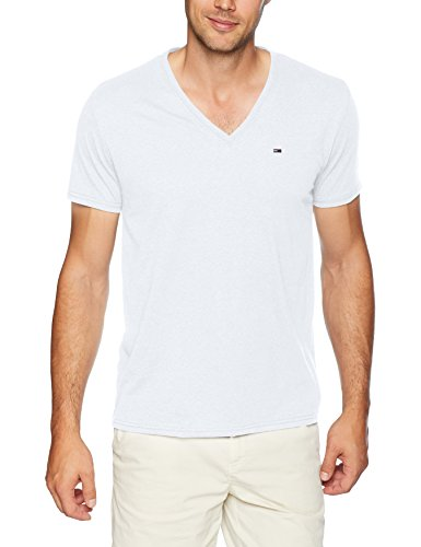 Tommy Jeans Men's V Neck T-Shirt, Classic White, Large
