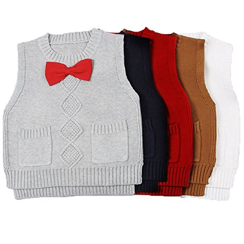 68196d61e Toddler Baby Boy s Girls Cable Knit Vest Cotton Bow Pullover Sweater ...