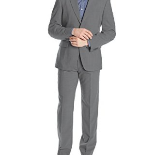 Tommy Hilfiger Men's Two Button Stretch Performance Solid Suit, Grey, 42 Regular
