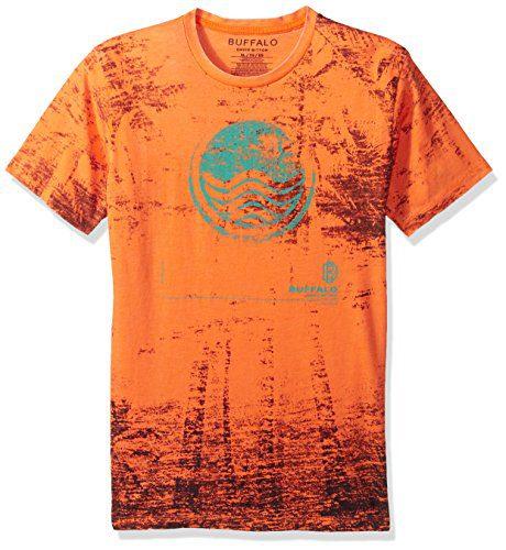 Buffalo by David Bitton Big Boys' Tewif Short Sleeve Tee Shirt, Mandarin Orange, S