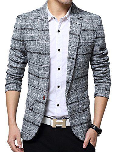 Men's Casual One Button Slim Fit Blazer Suit Jacket (L, 603Grey)