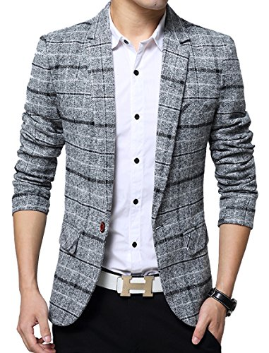Men's Casual One Button Slim Fit Blazer Suit Jacket (L, 603Grey)