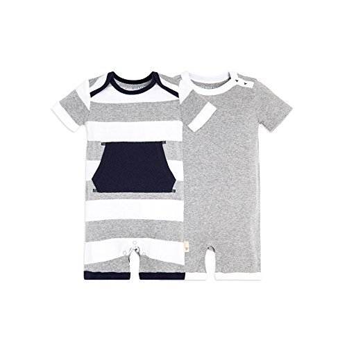 Burt's Bees Baby Unisex Baby 2-Pack Organic One-Piece Romper Coverall, Heather Grey Pocket Shortalls, Newborn