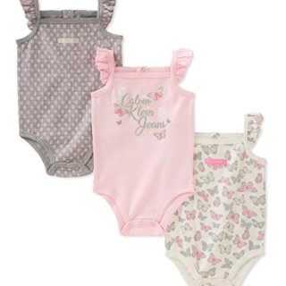Calvin Klein Baby Girls 3 Pieces Pack Bodysuits, Pink/Gray/White, 3-6 Months