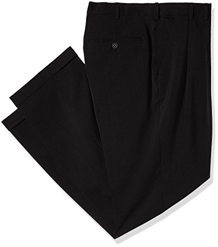 Van Heusen Men's Big and Tall Traveler Stretch Pleated Dress Pant, Black, 40W X 34L