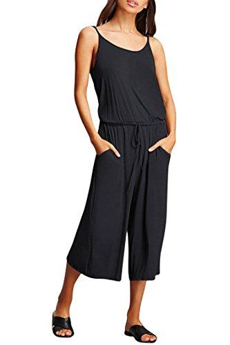 Fixmatti Woman Black Jumpsuit Strappy Open Back Petite Capri Wide Leg Pant Culotte Romper