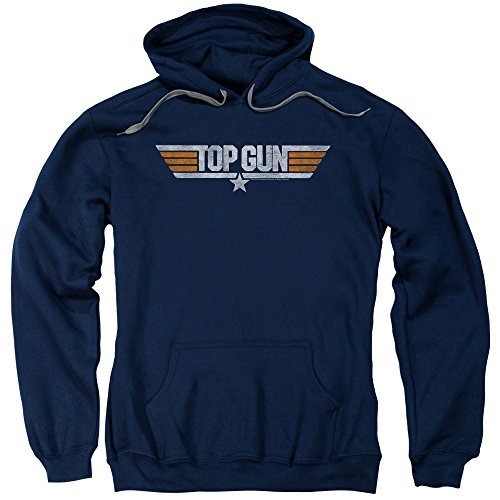 Top Gun Navy Action Thriller Movie Distressed Logo Adult Blue Pull-Over Hoodie