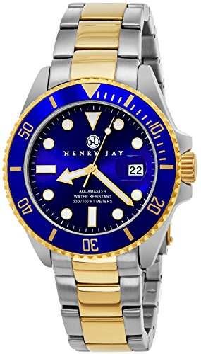 """Henry Jay Mens 23K Gold Plated Two Tone Stainless Steel """"Specialty Aquamaster"""""""