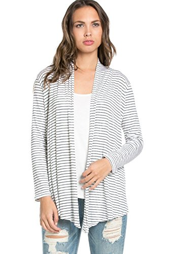 Azules Women's Long Sleeved Open Front Draped Cardigan, Small, Thin Black Stripes